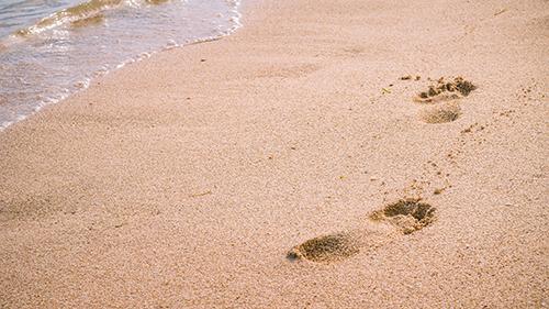wave and footprints on clear sandy beach beeczmw